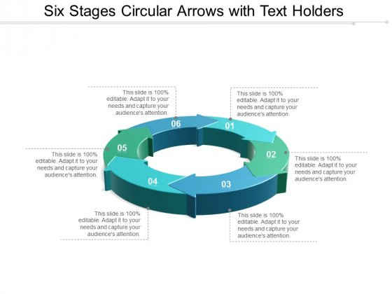 Six Stages Circular Arrows With Text Holders Ppt Powerpoint Presentation Professional Portrait