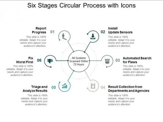Six Stages Circular Process With Icons Ppt PowerPoint Presentation Backgrounds