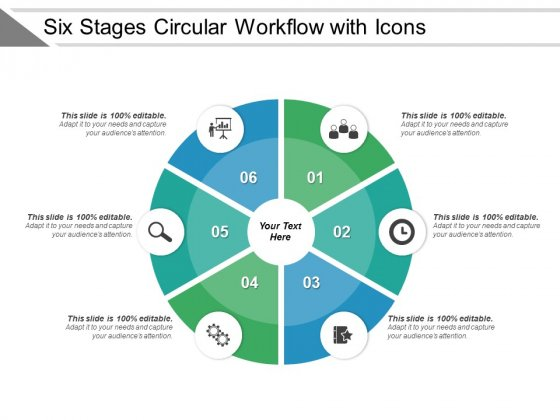 Six Stages Circular Workflow With Icons Ppt PowerPoint Presentation Professional Clipart Images