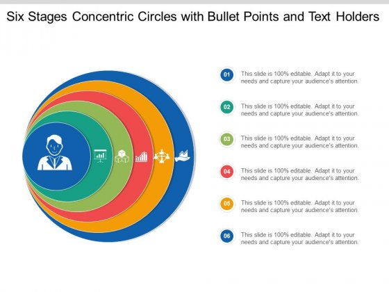 Six Stages Concentric Circles With Bullet Points And Text Holders Ppt Powerpoint Presentation Layouts Example Introduction