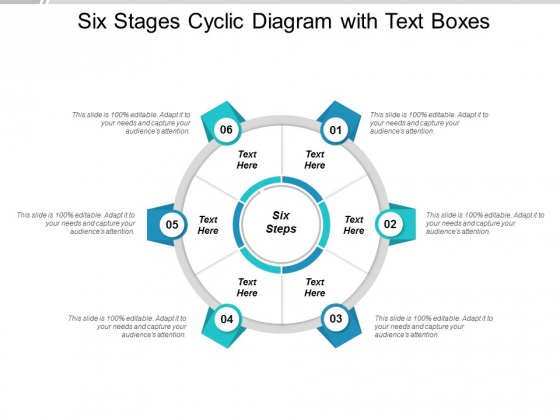 Six Stages Cyclic Diagram With Text Boxes Ppt Powerpoint Presentation Styles File Formats