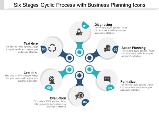 Six Stages Cyclic Process With Business Planning Icons Ppt Powerpoint Presentation Layouts Outline