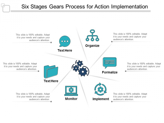 Six Stages Gears Process For Action Implementation Ppt Powerpoint Presentation Show Introduction