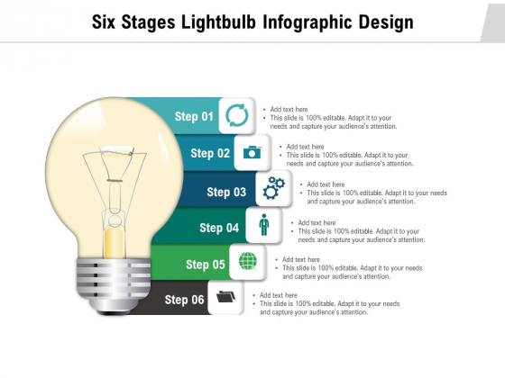 Six Stages Lightbulb Infographic Design Ppt PowerPoint Presentation Topics PDF
