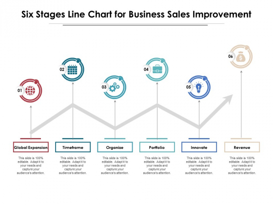 Six Stages Line Chart For Business Sales Improvement Ppt PowerPoint Presentation Inspiration Outline PDF