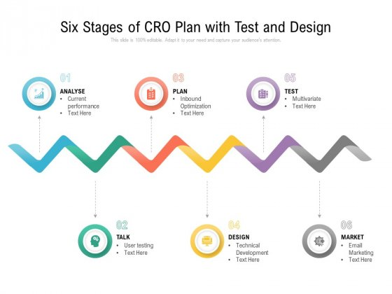 Six Stages Of Cro Plan With Test And Design Ppt PowerPoint Presentation Infographic Template Gallery PDF