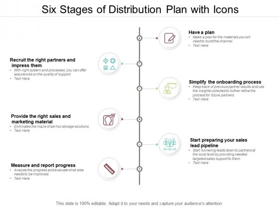 Six Stages Of Distribution Plan With Icons Ppt PowerPoint Presentation Styles Slide Download