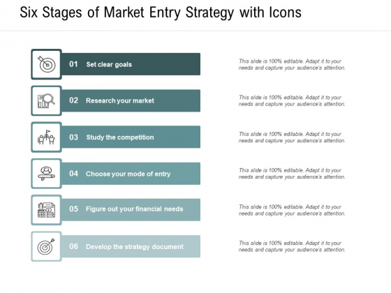 Six Stages Of Market Entry Strategy With Icons Ppt PowerPoint Presentation Portfolio Slides