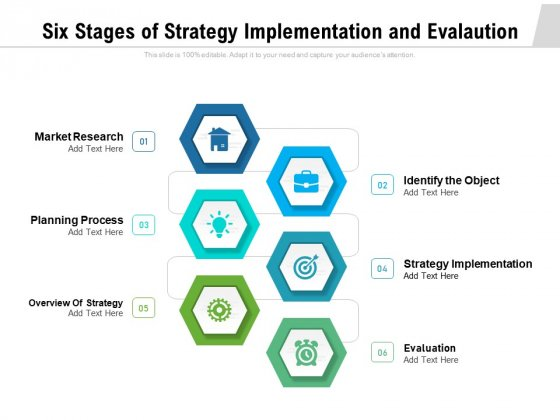 Six Stages Of Strategy Implementation And Evalaution Ppt PowerPoint Presentation File Elements PDF