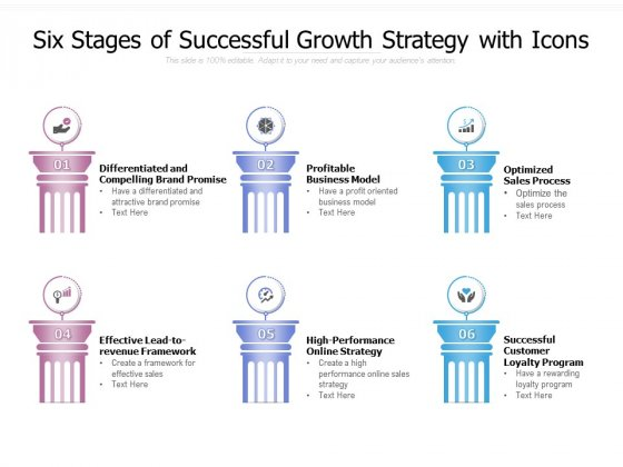 Six Stages Of Successful Growth Strategy With Icons Ppt PowerPoint Presentation Model Graphics Tutorials