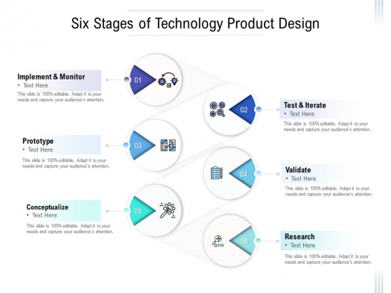 Six Stages Of Technology Product Design Ppt PowerPoint Presentation Outline Styles PDF