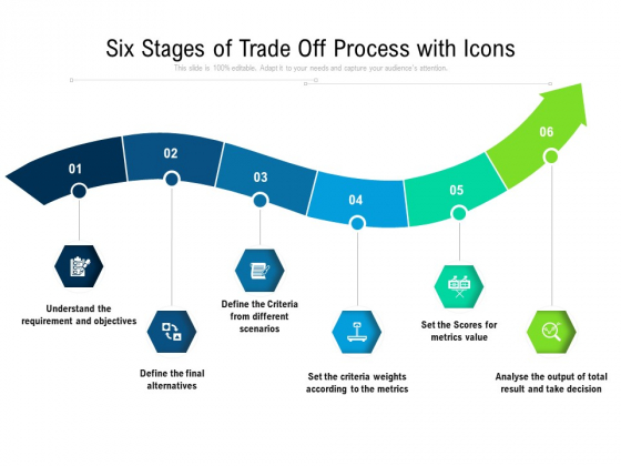 Six Stages Of Trade Off Process With Icons Ppt PowerPoint Presentation Icon Background Images PDF