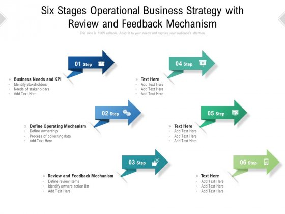 Six Stages Operational Business Strategy With Review And Feedback Mechanism Ppt PowerPoint Presentation File Slide Portrait PDF