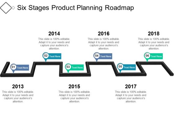 Six Stages Product Planning Roadmap Ppt PowerPoint Presentation Pictures Samples