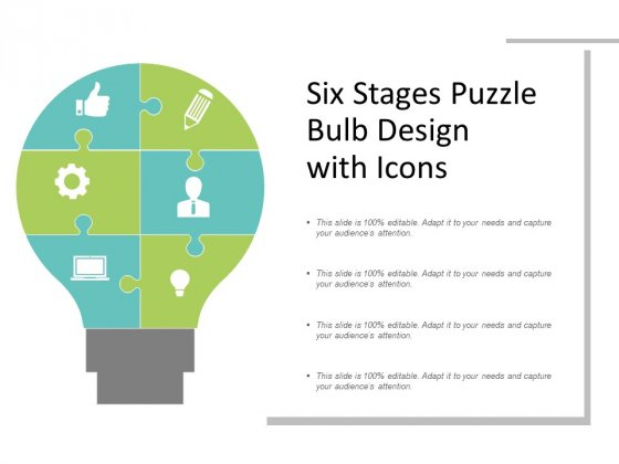 Six Stages Puzzle Bulb Design With Icons Ppt PowerPoint Presentation Gallery Graphic Tips
