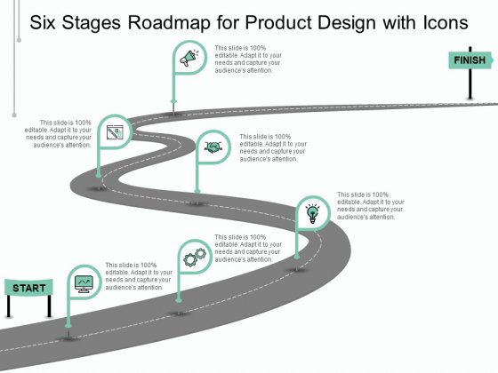 Six Stages Roadmap For Product Design With Icons Ppt PowerPoint Presentation Slides Shapes