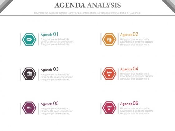 Six Steps Agenda Infographics Diagram Powerpoint Slides