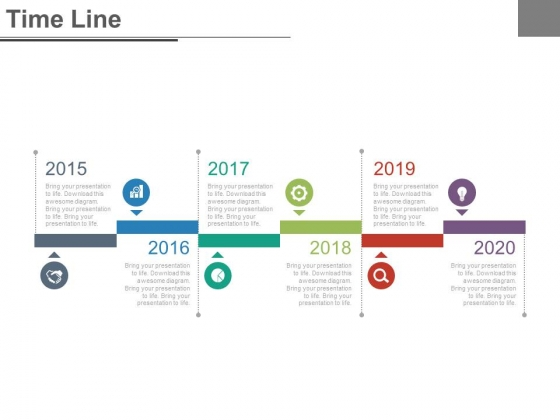 Six Steps And Years For Business Timeline Powerpoint Slides