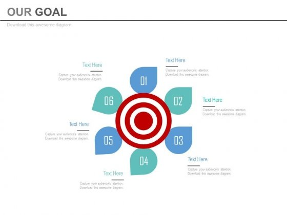 Six Steps Around Target Board Powerpoint Slides
