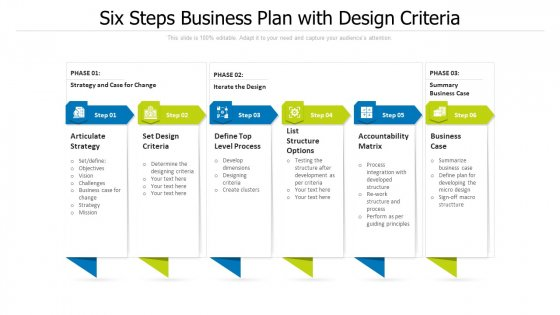 Six Steps Business Plan With Design Criteria Ppt PowerPoint Presentation Gallery Grid PDF