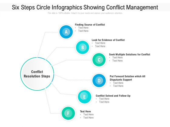 Six Steps Circle Infographics Showing Conflict Management Ppt PowerPoint Presentation File Slide PDF