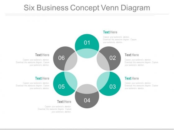 Six Steps Circle Venn Diagram Powerpoint Slides