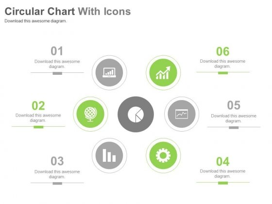 Six Steps Circular Chart With Icons Powerpoint Slides
