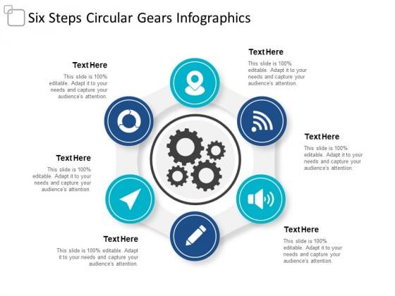 Six Steps Circular Gears Infographics Ppt Powerpoint Presentation Slides Smartart