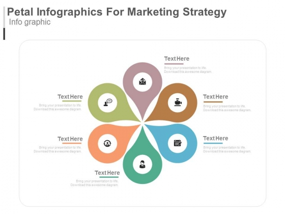 Six Steps Circular Infographics For Marketing Strategy Powerpoint Template