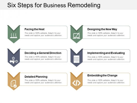 Six Steps For Business Remodeling Ppt Powerpoint Presentation Layouts Slideshow