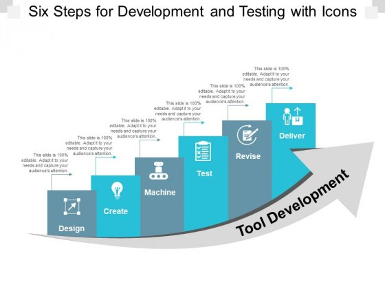 Six Steps For Development And Testing With Icons Ppt PowerPoint Presentation Outline Slides