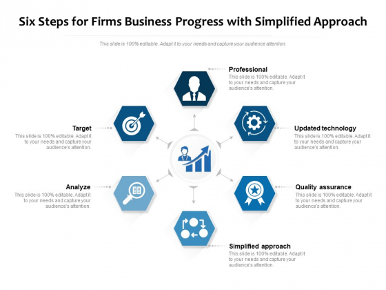 Six Steps For Firms Business Progress With Simplified Approach Ppt PowerPoint Presentation Gallery Slideshow PDF