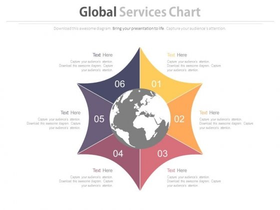 Six Steps For Global Business Process Powerpoint Template