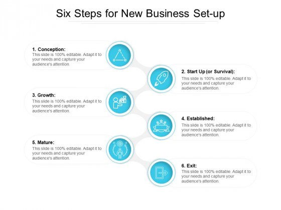 Six Steps For New Business Set Up Ppt PowerPoint Presentation File Samples PDF