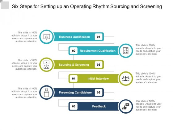 Six Steps For Setting Up An Operating Rhythm Sourcing And Screening Ppt Powerpoint Presentation Pictures Example File