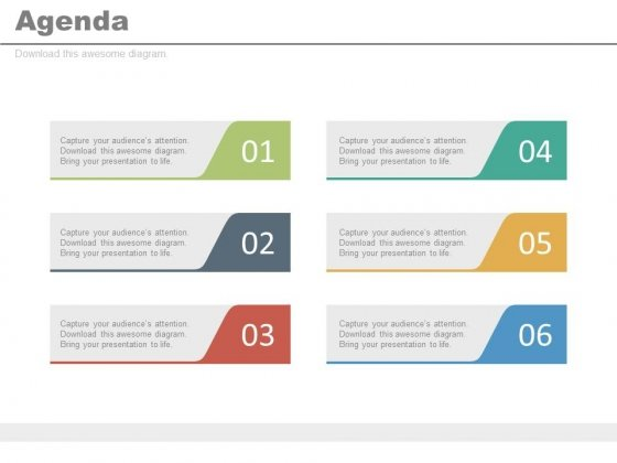 Six Steps For Successful Business Agenda Powerpoint Slides