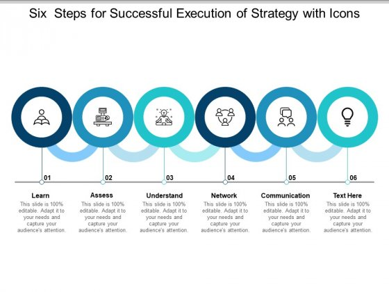 Six Steps For Successful Execution Of Strategy With Icons Ppt Powerpoint Presentation Summary Ideas