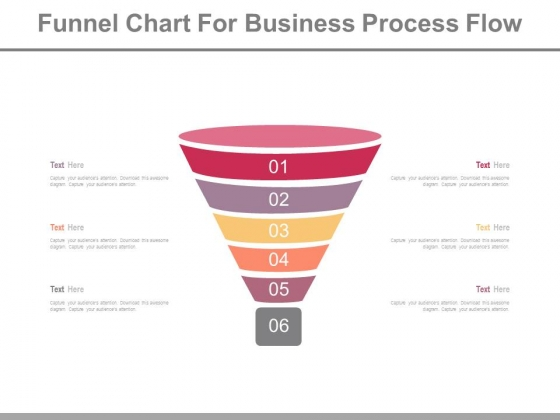 Six Steps Funnel Chart For Business Powerpoint Slides
