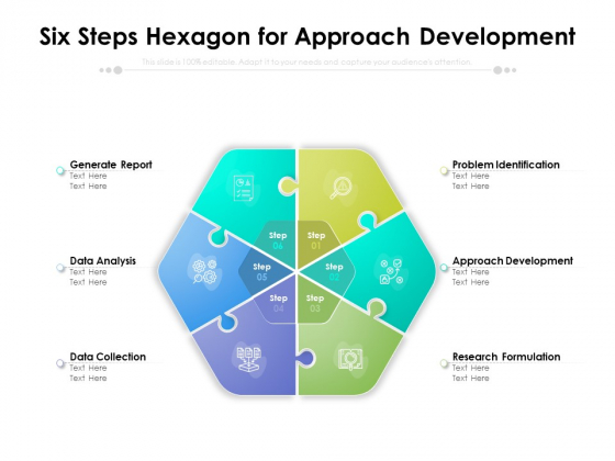 six steps hexagon for approach development ppt powerpoint presentation pictures graphics tutorials pdf
