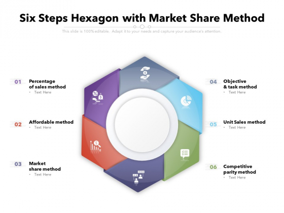 six steps hexagon with market share method ppt powerpoint presentation file example topics pdf