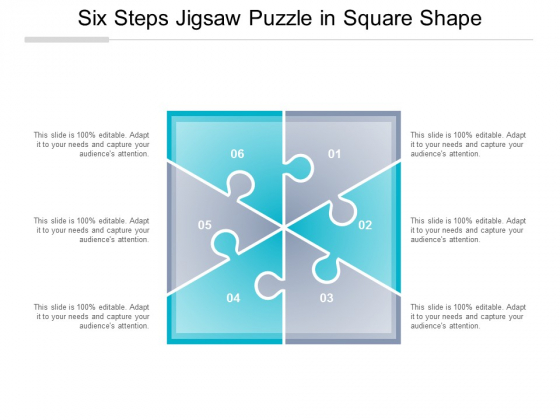 Six Steps Jigsaw Puzzle In Square Shape Ppt Powerpoint Presentation Infographic Template Example File