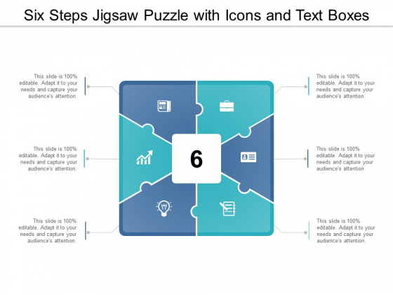 Six Steps Jigsaw Puzzle With Icons And Text Boxes Ppt Powerpoint Presentation Professional Influencers