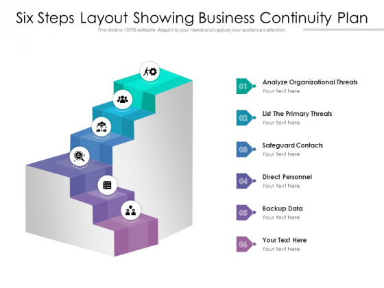 Six Steps Layout Showing Business Continuity Plan Ppt PowerPoint Presentation Infographic Template File Formats PDF