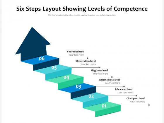 Six Steps Layout Showing Levels Of Competence Ppt PowerPoint Presentation Ideas Design Templates PDF