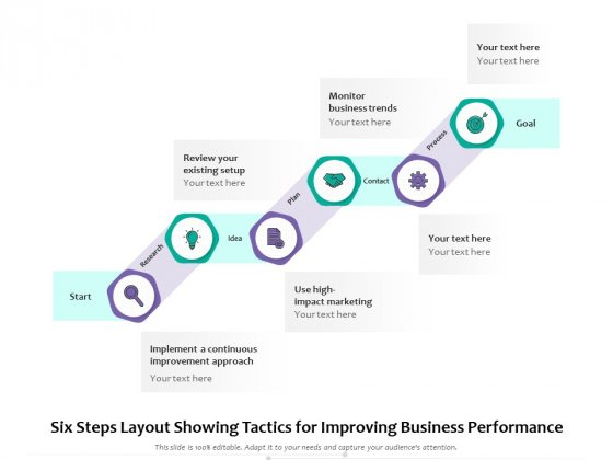 Six Steps Layout Showing Tactics For Improving Business Performance Ppt PowerPoint Presentation Infographics Ideas PDF