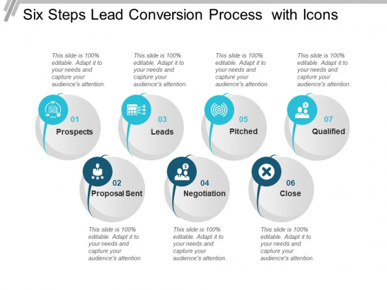Six Steps Lead Conversion Process With Icons Ppt PowerPoint Presentation Professional Background Image