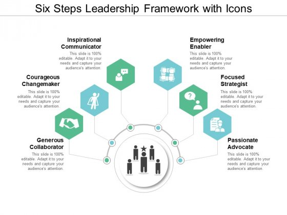 Six Steps Leadership Framework With Icons Ppt PowerPoint Presentation Slides Format