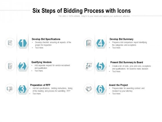 Six Steps Of Bidding Process With Icons Ppt PowerPoint Presentation Pictures Guide