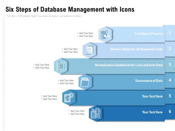 Six Steps Of Database Management With Icons Ppt PowerPoint Presentation Ideas Examples