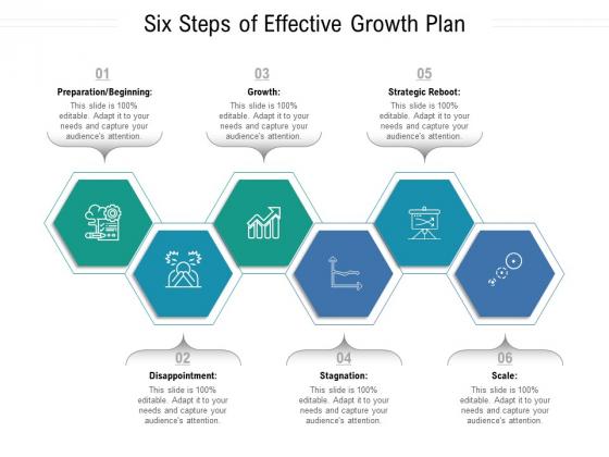 Six Steps Of Effective Growth Plan Ppt PowerPoint Presentation Ideas Slide PDF